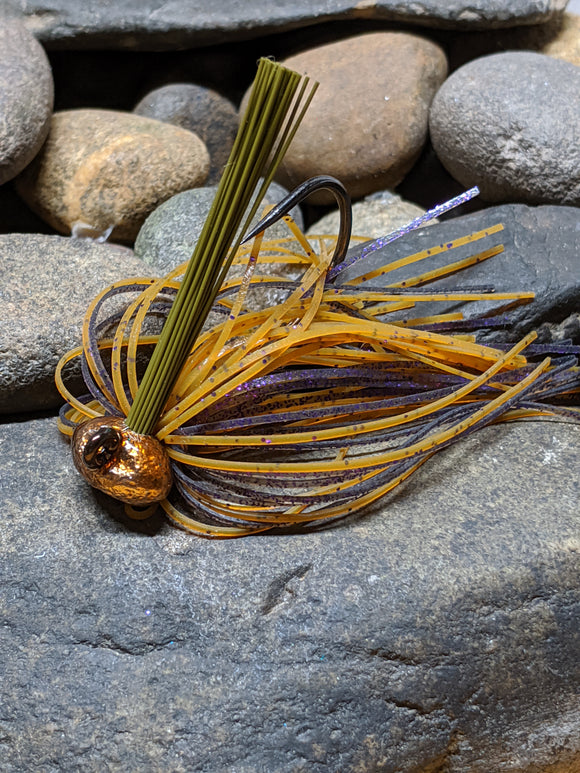 Amber Purple Craw Stand Up Football Jig w/Keeper