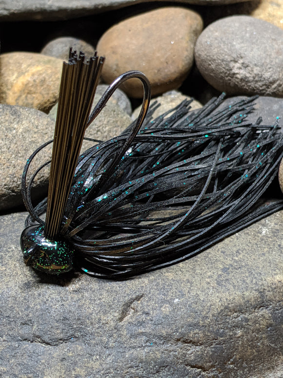 Black Green Flake Stand Up Football Jig w/Keeper
