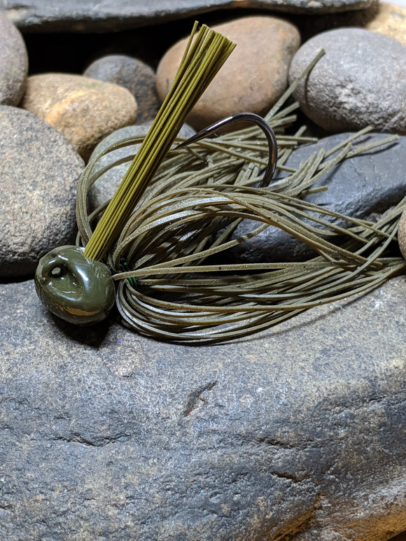 Green Pumpkin Stand Up Football Jig w/Keeper