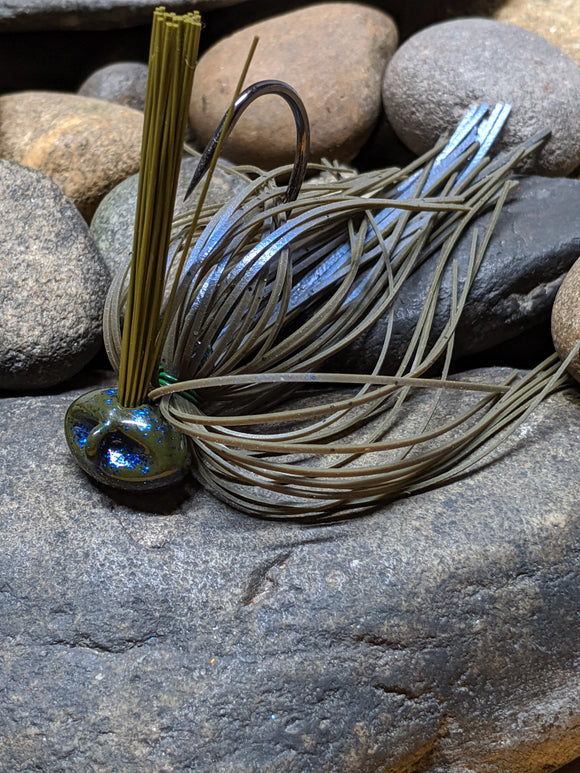 Green Pumpkin Blue Shimmer Stand Up Football Jig w/Keeper