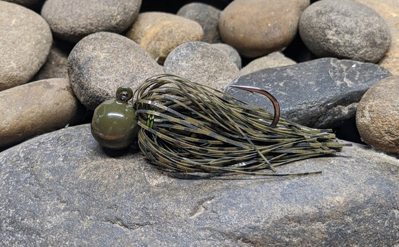 Green Pumpkin Barbwire Pro Series Round Head Finesse Jig