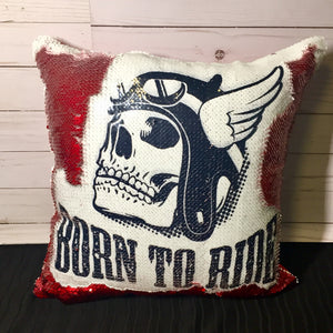 Born to Ride Motorcycle Skull Mermaid Pillow