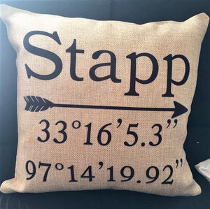 Home GPS Coordinates Burlap or Canvas Pillow