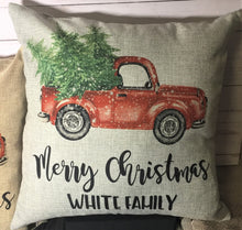 Merry Christmas Vintage Truck Burlap or Canvas Pillow