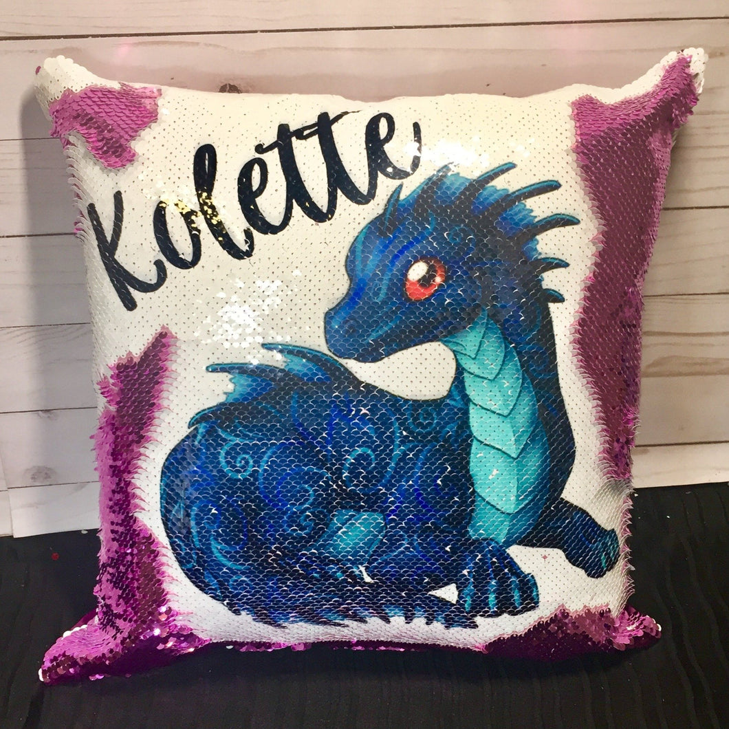 Blue Dragon Mermaid Pillow
