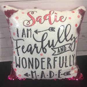 Fearfully & Wonderfully Made - Bible Verse Mermaid Pillow