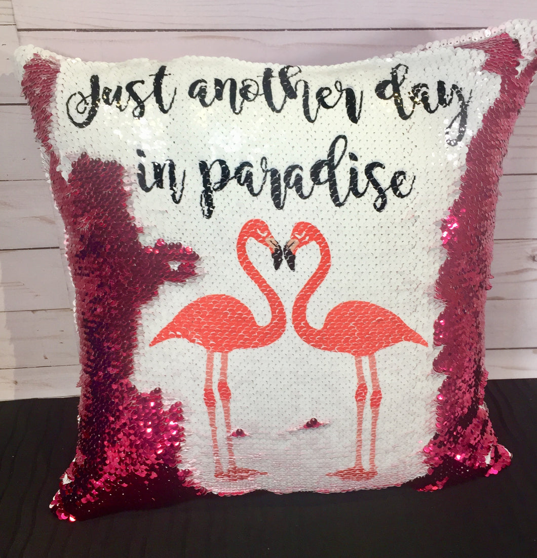 Another Day in Paradise - Flamingo Mermaid Pillow