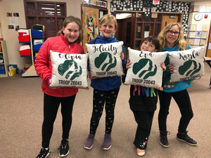 """Girl Scouts"" Mermaid Pillow- Custom"