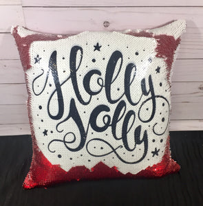 Holly Jolly Christmas Mermaid Pillow