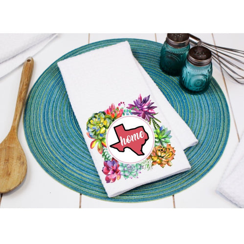 Succulent Home Texas Dish Towel