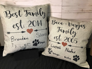 Family Signature Burlap Pillows