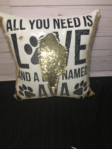 Love and a Dog Custom Mermaid Pillow