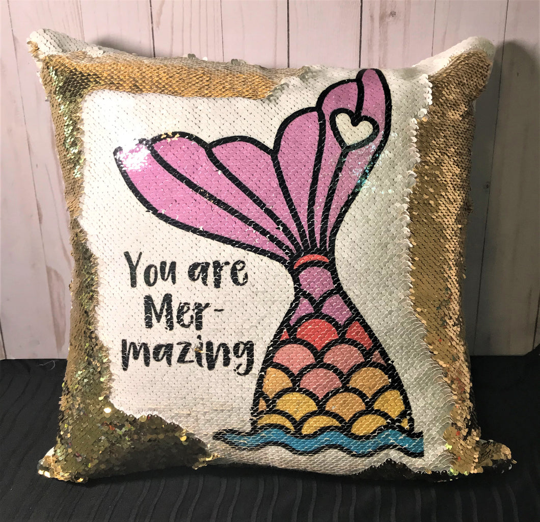 You Are Mer-Mazing Mermaid Pillow- Purple Tail