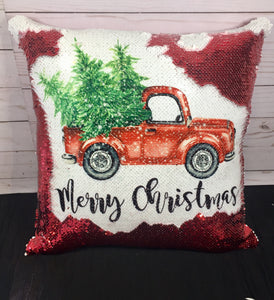 Merry Christmas Vintage Truck Mermaid Pillow