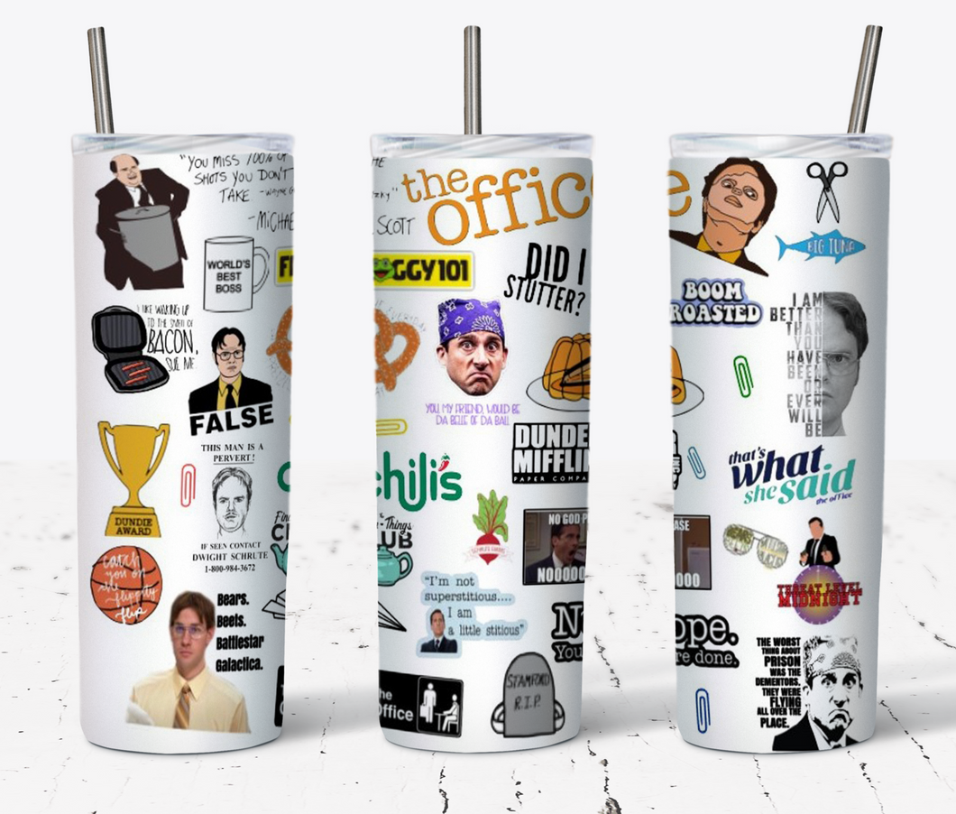The Office Themed 20oz Skinny Tumbler Prison Mike, Dwight, and More