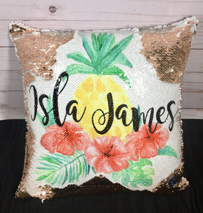 Floral Pineapple Custom Mermaid Pillow
