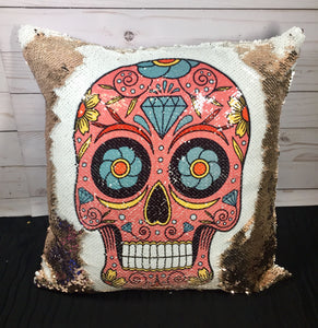 Pink Sugar Skull Mermaid Pillow