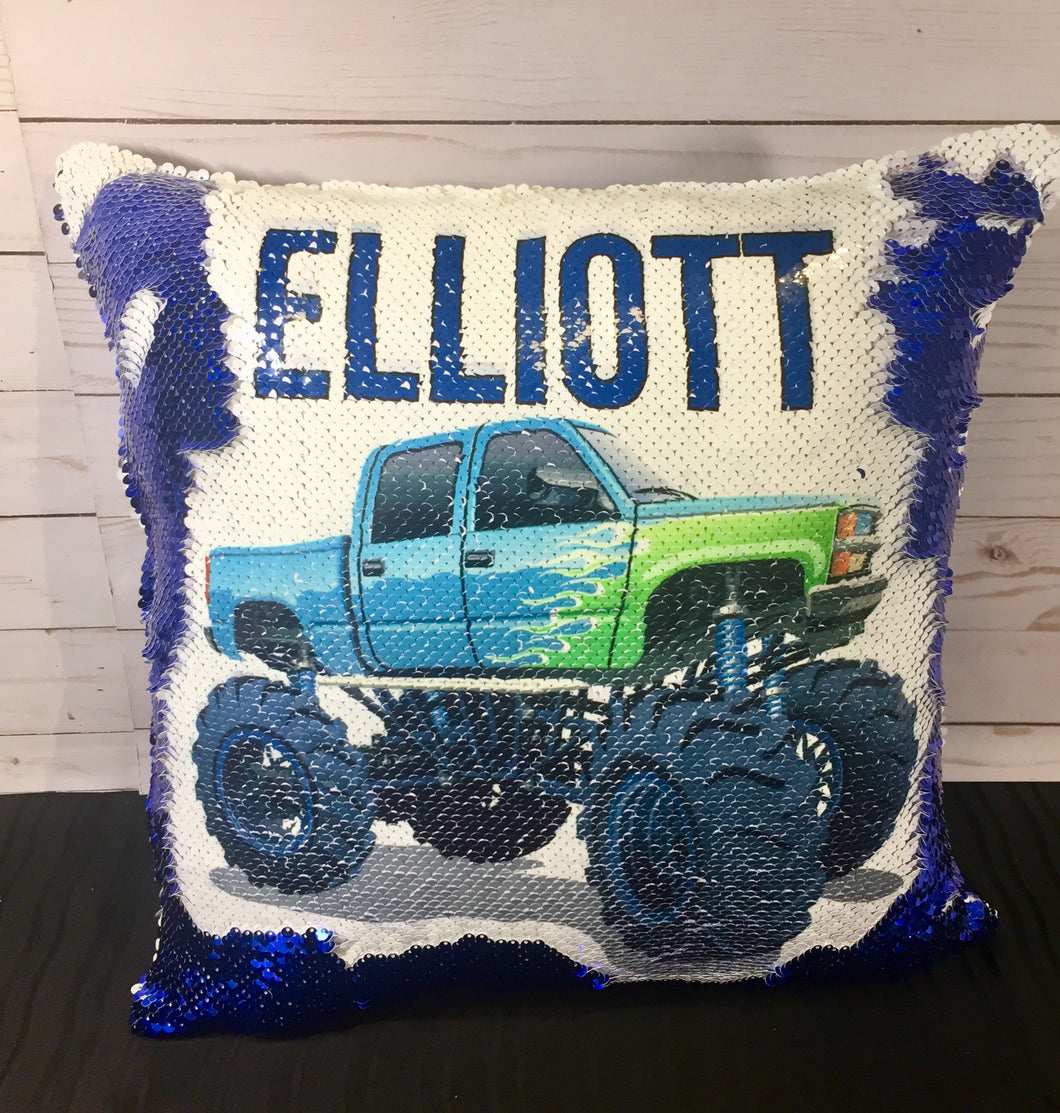 Blue Monster Truck Mermaid Pillow