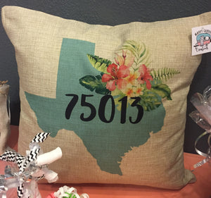 Texas Zipcode Burlap or White Canvas Pillow
