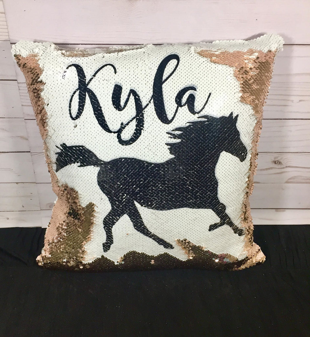 Running Horse/Mustang Custom Mermaid Pillow