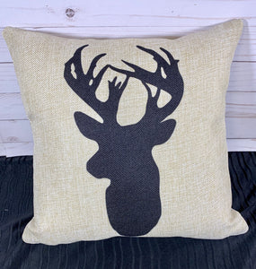 Deer Silhouette Burlap or White Canvas Pillow