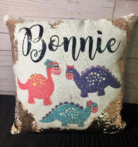 Baby Dinosaur Custom Mermaid Pillow