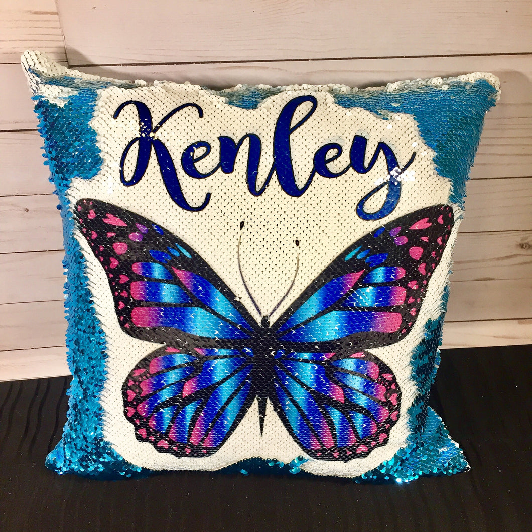 Teal & Purple Butterfly Mermaid Pillow