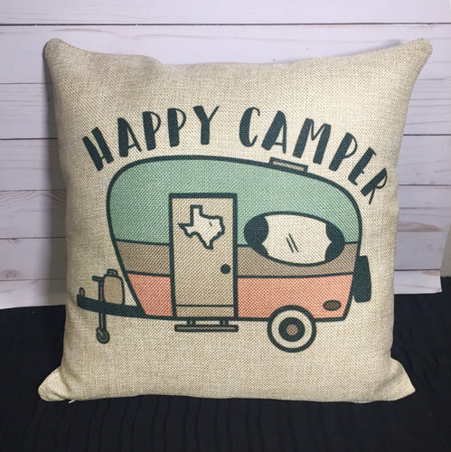 Happy Camper Burlap or Canvas Pillow