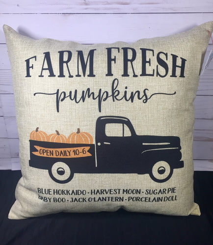 "Farm Fresh Pumpkin Truck Fall 18"" Burlap Pillow"