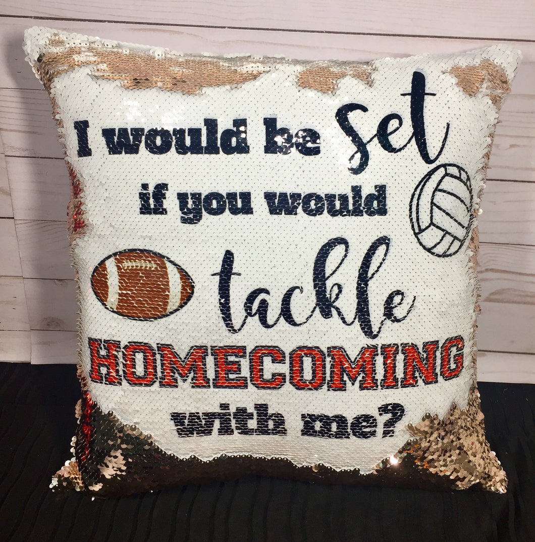 Set to Tackle Homecoming Proposal Mermaid Pillow