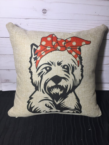 Yorkie Bandana Burlap or White Canvas Pillow