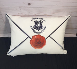Letter From Hogwarts Burlap or White Canvas Pillow-Harry Potter Inspired