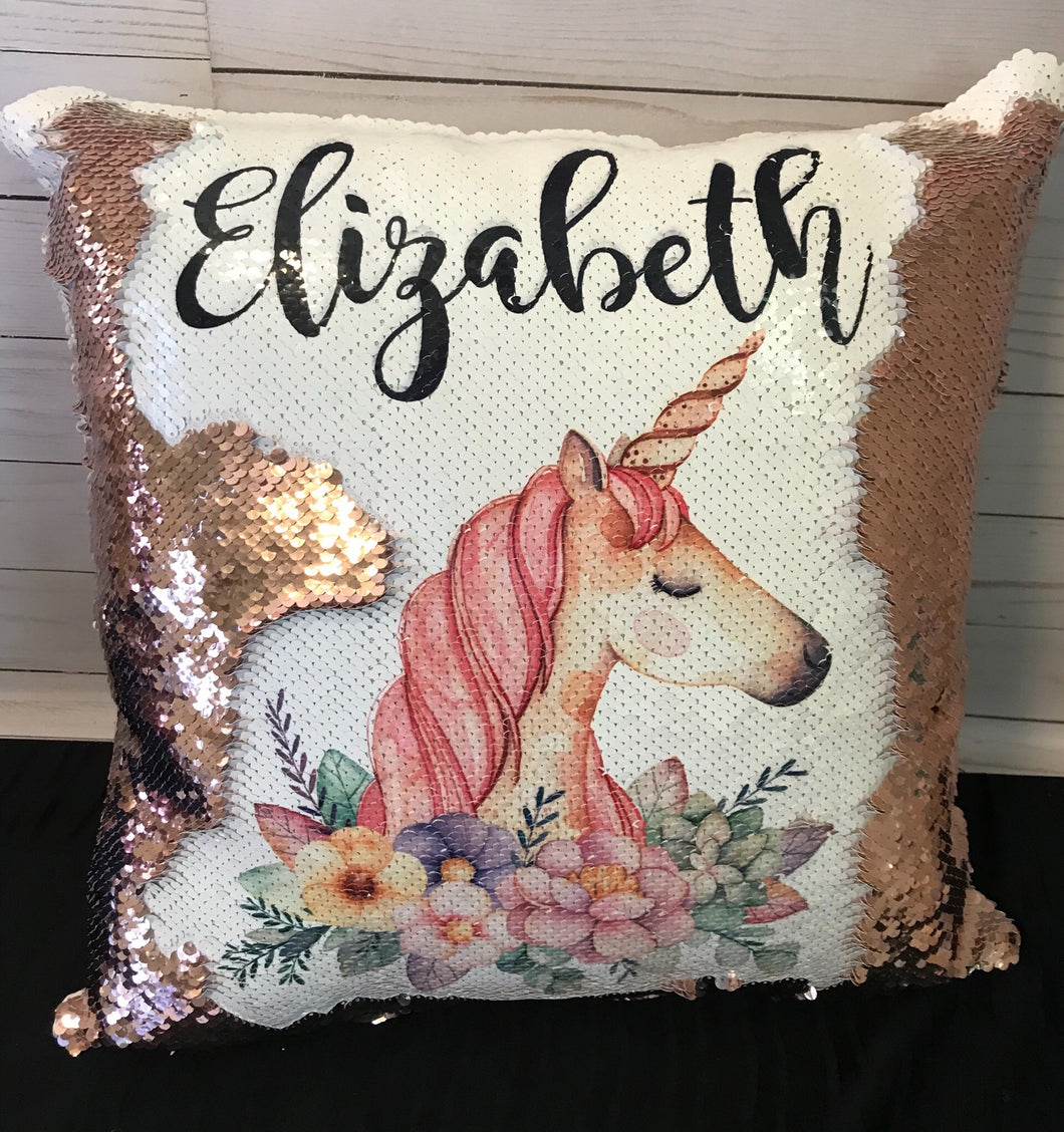Floral Unicorn Custom Mermaid Pillow