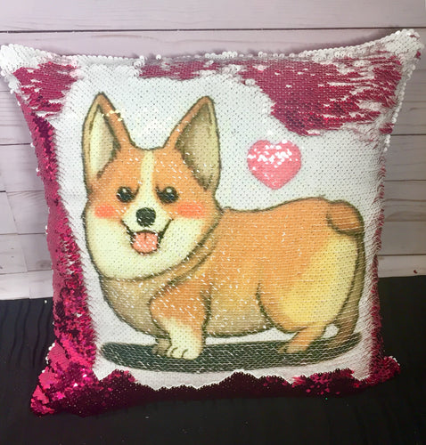 Corgi Love Mermaid Pillow