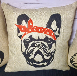 Frenchie Bandana Burlap or White Canvas Pillow