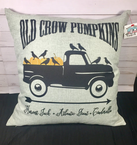 Old Crow Pumpkins Fall Burlap or Canvas Pillow