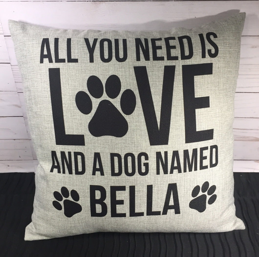"Love and a Dog Custom 18"" Burlap Pillow"