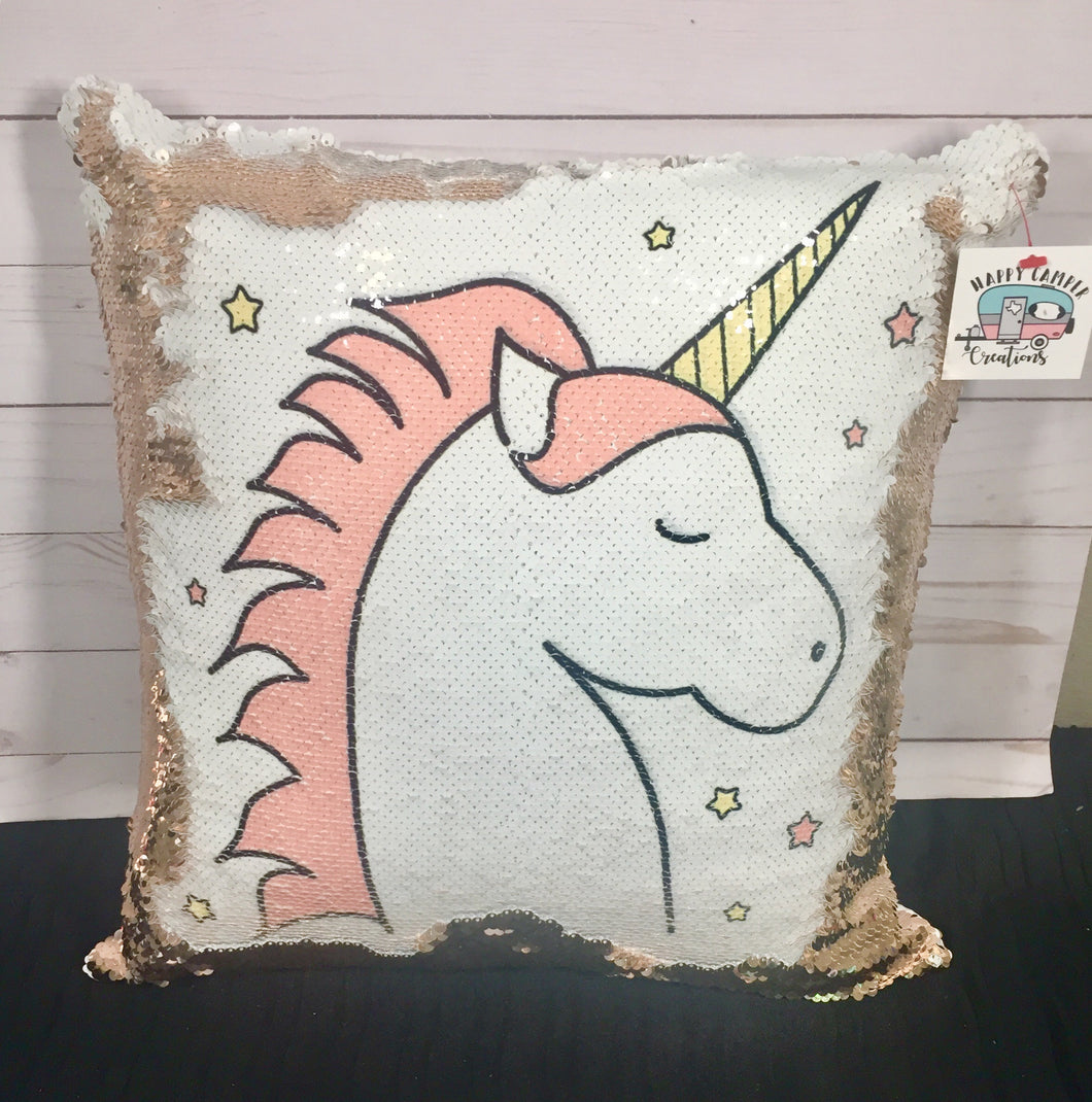 Unicorn Sketch Mermaid Pillow