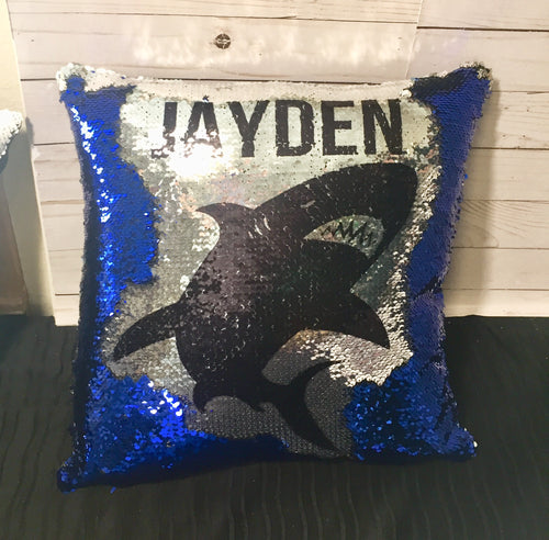 Shark Silhouette Mermaid Pillow