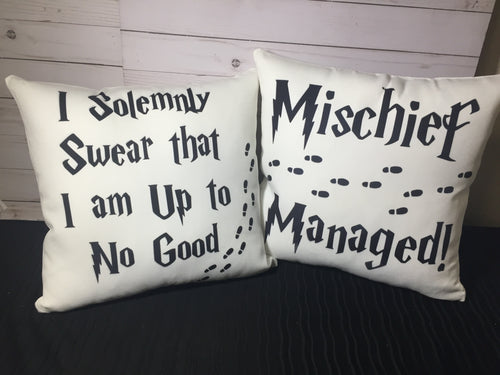 Reversible Marauders Map Burlap or White Canvas Pillow- Harry Potter Inspired