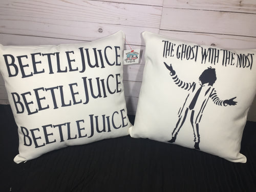 Beetle Juice Reversible Burlap or White Canvas Pillow