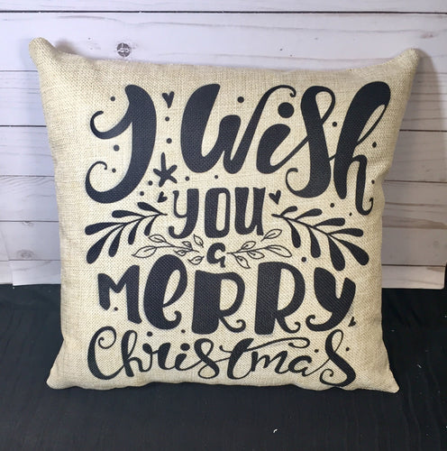 I Wish You a Merry Christmas Burlap or Canvas Pillow