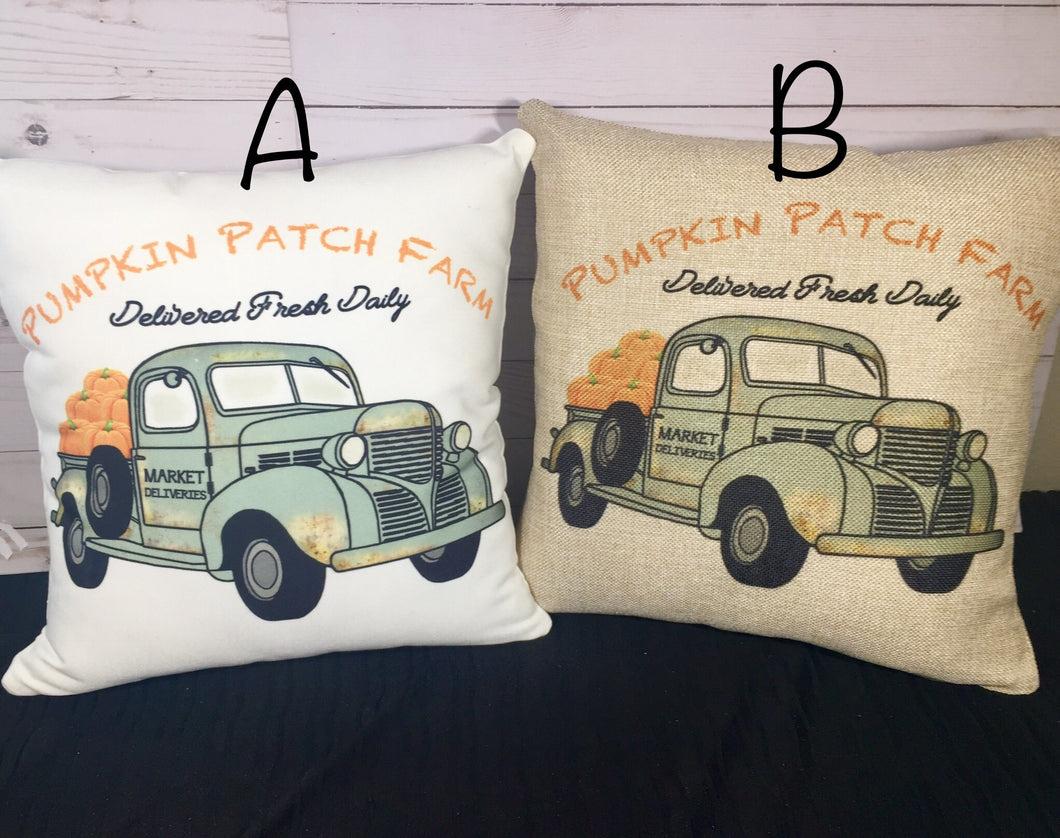Pumpkin Patch Vintage Truck Burlap or White Canvas Pillow