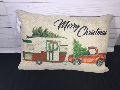 Christmas Truck & Camper 12x18 or 12x20 Burlap or White Canvas Pillow