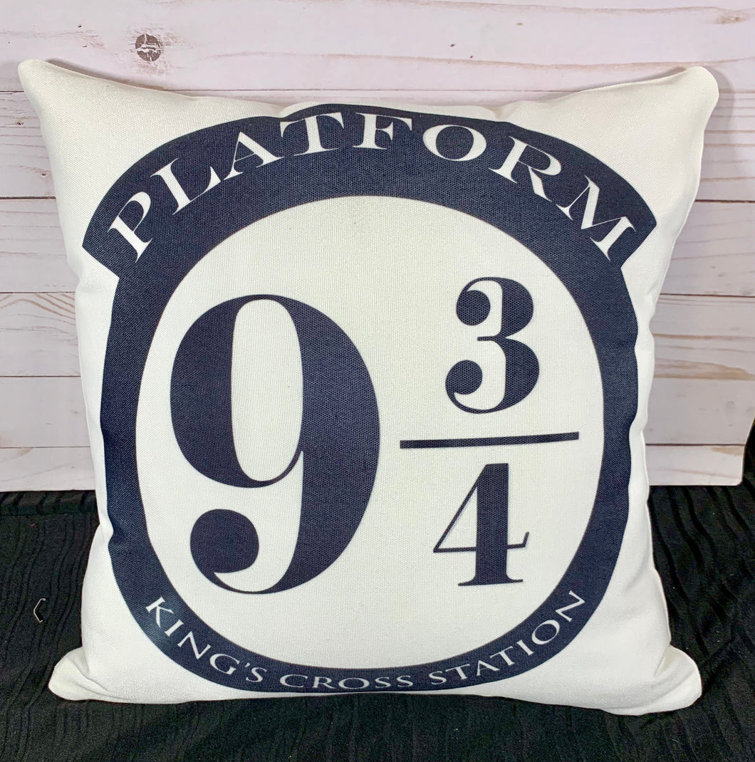 Platform 9 3/4 Harry Potter Inspired Burlap or White Canvas Pillow