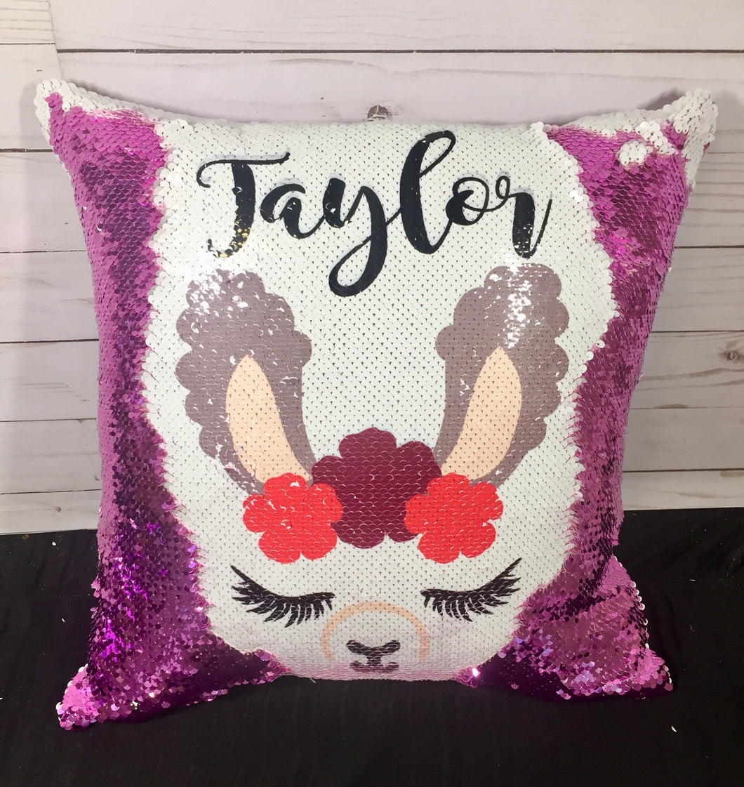 Llama Face Custom Mermaid Pillow