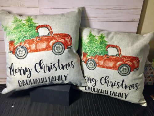 "Vintage Truck Christmas 18"" Burlap Pillow"