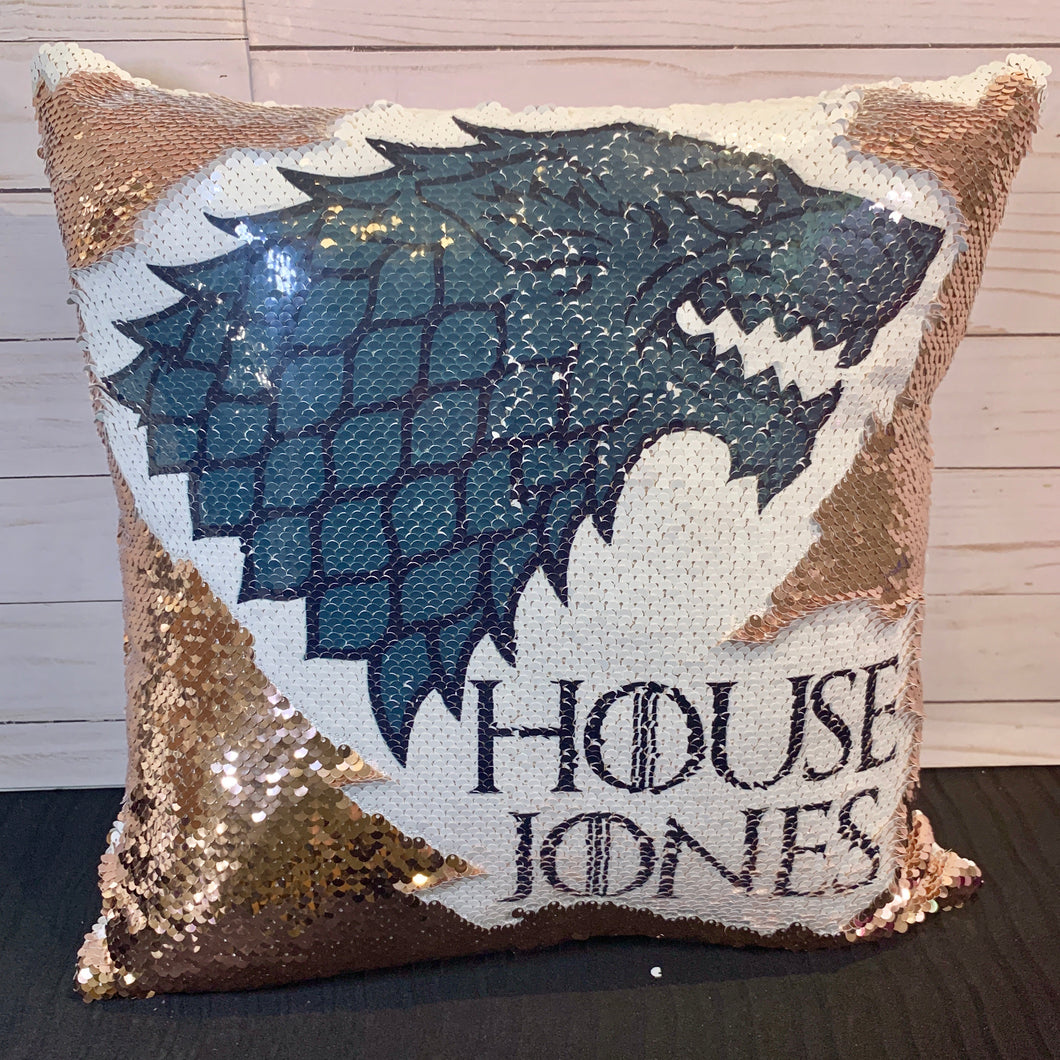 Custom House Name - Direwolf - Game of Thrones Inspired Mermaid Pillow