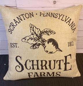 Schrute Farms Burlap or White Canvas Pillow- The Office Inspired