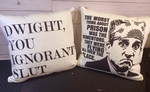 Dementors- Prison Mike Burlap or White Canvas Pillow- The Office Inspired